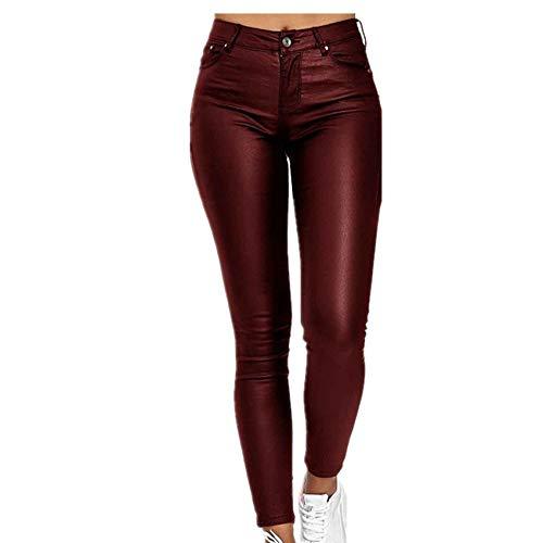Hhckhxww OtoñO/Invierno Pantalones Casuales para Mujer Pantalones De Pie Pantalones De Cuero De PU De Comercio Exterior
