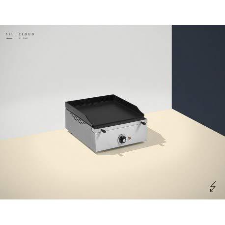Plancha électrique inox brossé - Plaque Lisse - 1 résistance - 400 x 400 x 226 mm - 6 mm d'épaisseur - Pinha 2 - Inox