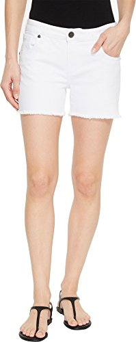 KUT from the Kloth Gidget Fray Shorts in Optic White Optic White 8 4