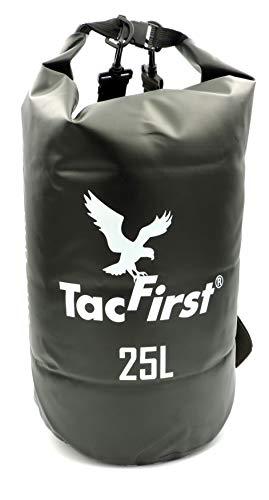TacFirst Dry Bag Seesack, wasserdichter Packsack mit Fast-Fold Verschluss 2L / 3L / 5L / 10L / 15L / 20L / 25L / 30L wasserfester Trockenbeutel (Schwarz, 25L)