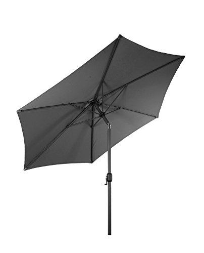 LINDER EXCLUSIV Sonnenschirm Ø 3m mit Knick knickbar mit Kurbel Schirm Gartenschirm 4 Farben (Steingrau)
