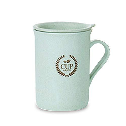 Mug Tasses A Café,320Ml Paille De Blé Vert avec Couvercle Poignée Confortable Tasse Réutilisable pour Le Thé, Le Café Ou Le Lait, pour Les Boissons Chaudes Et Froides, pour Le Bureau, La Maiso