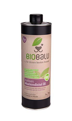 Biobalu Bio Mariendistelöl | Ergänzungsfuttermittel für Hunde und Pferde | Barf Öl zur Unterstützung der Leberfunktion und des Fellwechsels (1000 ml)