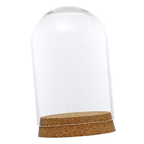 SM SunniMix Cúpula de Vidrio Campana de Cristal con Base Madera Florero Mesa Boda Decoración DIY - 8x12cm