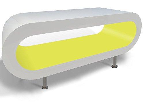 Zespoke Design Bianco Lucido e Verde Lime caffè Cerchio Supporto da Tavolo/TV in Vari Formati