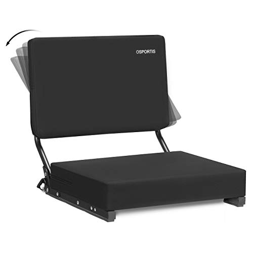 OSPORTIS Stadium Seats for Bleachers Bleacher Seats with Padded Active Foam Backs and Cushion Portable Stadium Seats with Back Support and Shoulder Strap ActiveBlack 1 Pack