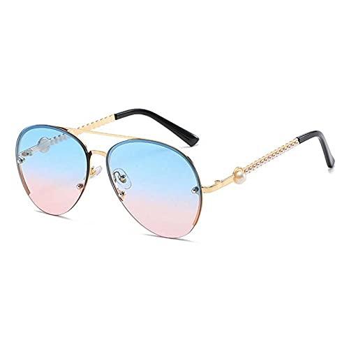 XDOUBAO Gafas de sol Gafas de sol Débil Mirror Haz Doble Haz Pearl Insertar Tinta Espejo Tendedero Controlador Gafas-Tabletas azules en polvo en el marco de oro