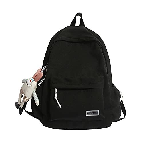 Cool Lady Trendy Women Kawaii Backpack Waterproof Girl Harajuku College Student Bag Female Laptop Cute Backpack Fashion Book Bag-black-No rabbit doll