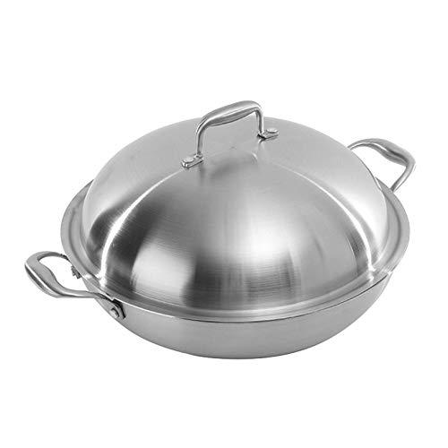 IUYJVR Sartén/Utensilios de Cocina Abiertos Aptos para lavavajillas, 14 Pulgadas / 15 Pulgadas, Plateado, 38 cm