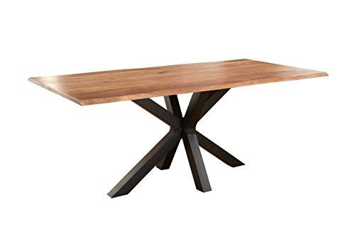 SAM Baumkantentisch 200 x 100 cm Spyro, Akazienholz naturfarben & massiv, Esszimmertisch mit mattschwarzem Spider-Metallgestell, Platte 26 mm