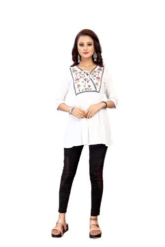 Bala India Casual Roll Up Sleeves Embroidered Women White Top_White Small