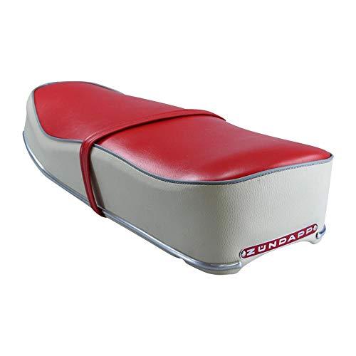 Zündapp Sitzbank rot/Creme mit Grauer Kordel und rotem Emblem für KS 50 Sport Combinette Typ 510 515