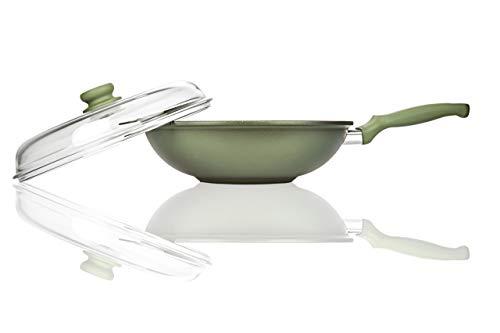 Risoli Wok cm 32 Dr. Green con coperchio GREEN STONE Made in Italy
