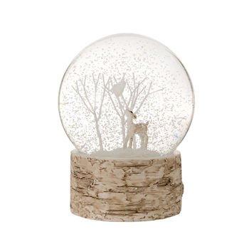 Schneekugel mit Waldlandschaft von Gisela Graham, Motiv: Hirsch, Bäume und Vogel