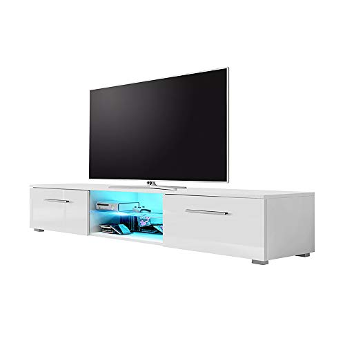Edith - Meuble TV Bas 140 cm Blanc Mat Blanc Brillant LED Bleu