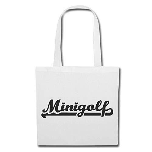 Tasche Umhängetasche MINI GOLF - MINIGOLF - GOLFPLATZ - GOLFSCHLÄGER - GOLFBALL Einkaufstasche Schulbeutel Turnbeutel in Weiß