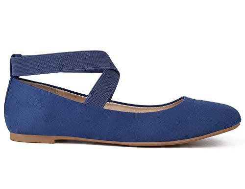 MaxMuxun Damen Geschlossene Ballerinas Flache elastische Band Schuhe Blau Größe 36 EU
