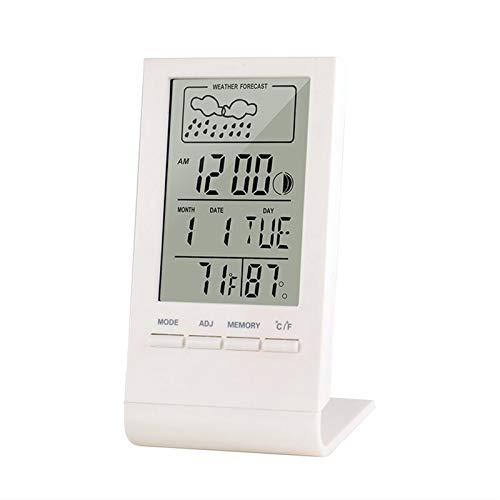 AQHXLS El Tiempo del Reloj portátil, Cubierta al Aire Libre de la estación del termómetro del Tiempo de Prueba automática y el higrómetro, indicador del medidor, Conveniente for el hogar Garaje, Inv