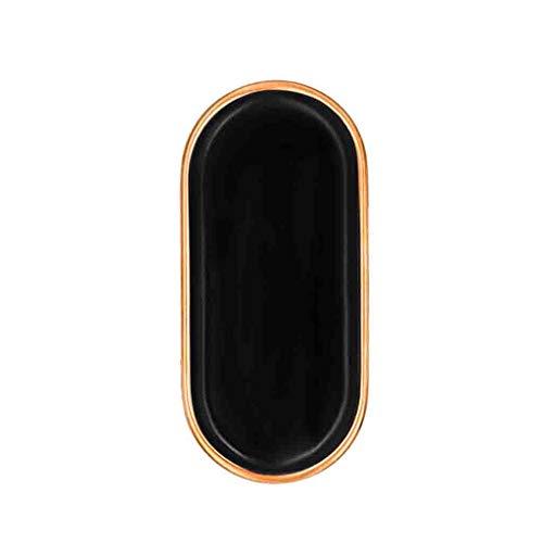 SZQ - Plato ovalado para postre, cocina, cerámica, para sopa, verduras, pescado, frutas, pan, postre, cerámica, negro, 15*32*1.8CM