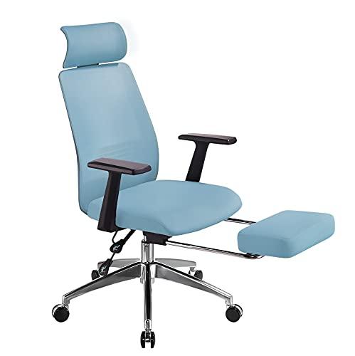 AmaMu Ergonomic Home Office Chair, High Back Mesh Desk Chair, 3D Lumbar Support Headrest & Footrest Swivel Tilt Function, Task Chairs for Office Home, Blue
