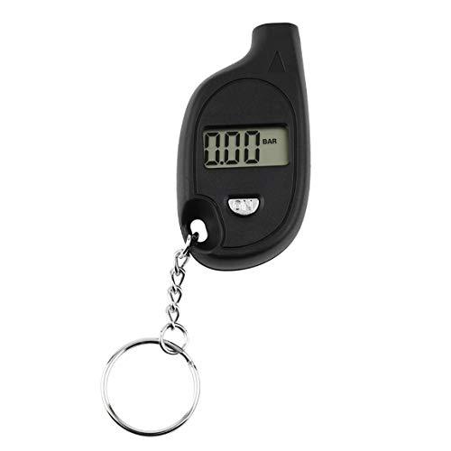 1 stück Mini Tragbare Schlüsselbund LCD Digital Auto Reifen Luftdruckprüfer Auto Motorrad Test Tool (mit zelle lithium-batterie) (farbe: schwarz)