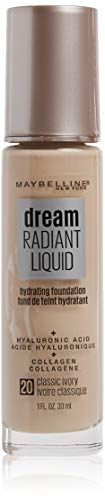 Maybelline Dream Radiant Liquid Medium Coverage Hydrating Makeup, Lightweight Liquid Foundation, Classic Ivory, 1 Fl; Oz