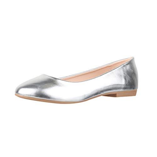 Elara Damen Ballerina Bequeme Slip Ons Flach Chunkyrayan B3039H BL Silver 41