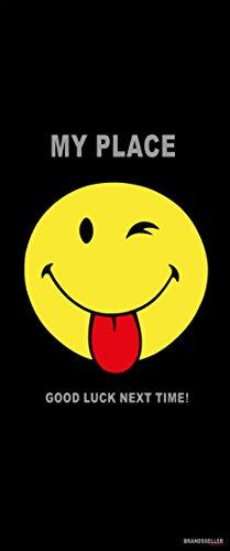 Badetuch Smiley/Strandtuch/Handtuch/Strandlaken - Größe: ca.92 x 187 cm - Farbe: Schwarz Zunge Good Luck