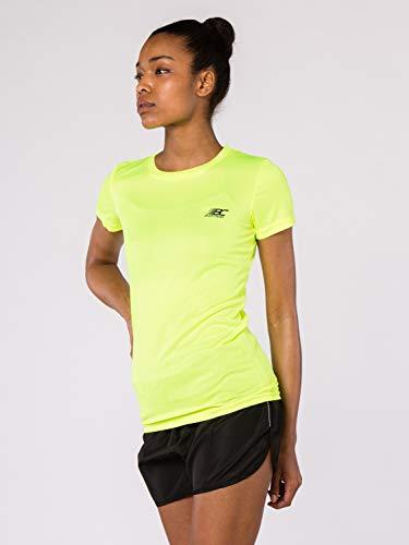 BODYCROSS Maillot Manches Courtes Col Rond Femme Paz Jaune Fluo Running, Jogging, Training - Léger, Respirant, Anti-Bactéries et Anti-Odeurs