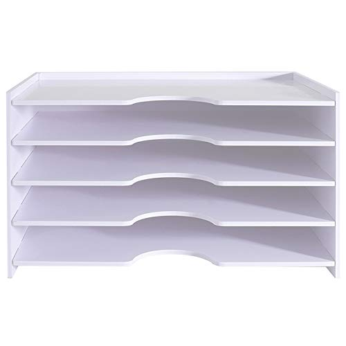 5-Layer Desktop Folder Organizer Desktop Folder Organizer Paper Tray File Frame Folder Organizer Tray Organizer White File Tray Organizer Rack for Desk Scrapbook Paper Storage Narrow Paper Tray