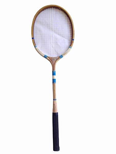 Navex Wooden Ball Badminton Raquet (Pack of Single Raquet) Brown Strung Racquetball Racquet (Pack of: 1, 200 g) (Blue)
