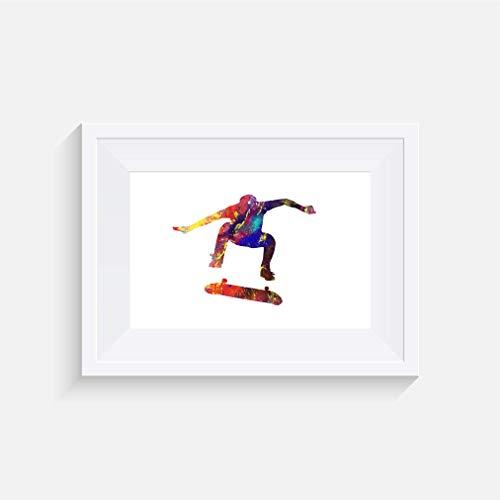 Skateboard Nollie Kickflip Inspirier - Drucken - Poster - Aquarell - Wandkunst- verschiedene Größen(Rahmen Nicht Inbegriffen)
