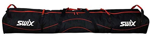 Swix Double SKI Bag - Padded with Wheels- Adjustable Size to 215cm - 2 Pairs of Alpine - 8+ Pairs of Nordic Skis - Super Tough 900 Denier, Red - Black, 215cm Max (SW27)
