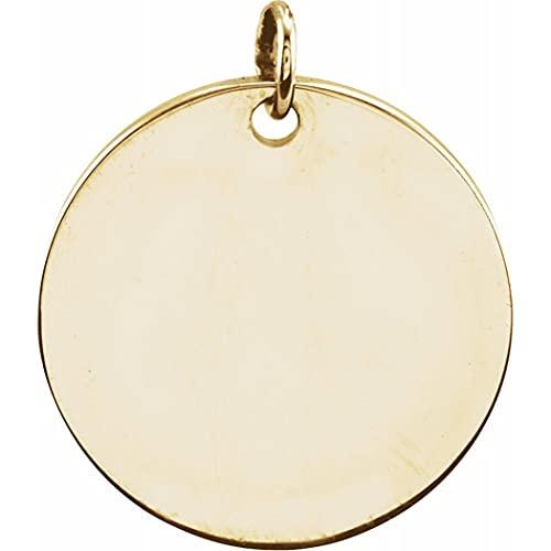 Collar con colgante de oro amarillo de 18 quilates chapado en oro de 14 quilates, 9,5 mm, sin personalización, pulido, grabable, con forma redonda, regalo para mujeres
