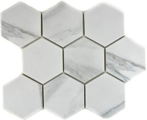 Mozaïek tegel keramiek wit Hexagon Carrara wandtegels badtegel MOS11F-0102_f | 10 mozaïekmatten