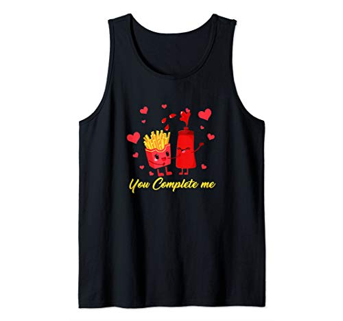 French Fries Ketchup Shirt Valentine Couple Food Complete Tank Top