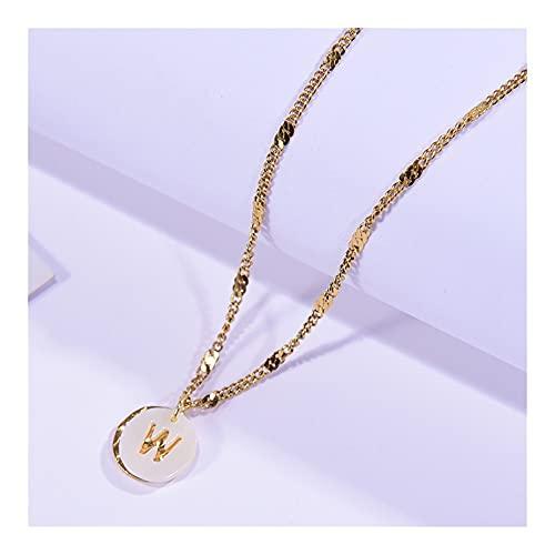 SAIO Collar Inicial del Acero Inoxidable de Oro para Las Mujeres Letra de Concha Equipo de maldad Piedra Natural Estética Moda Colgante Gargantilla Joyería (Metal Color : 21ky0603-W)