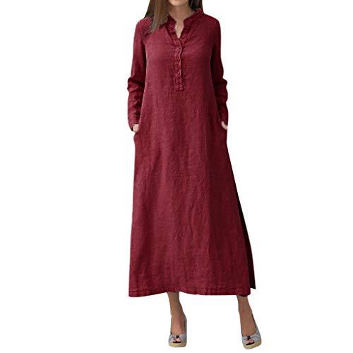 GreatestPAK Damen Kaftan Baumwolle Langarm Plain Casaul Maxi-Shirt-Kleid Langes Kleid,Rot,XXXL