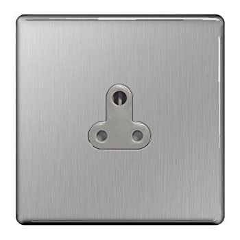BG Flatplate Screwless 5A Unswitched Socket Round Pin Brushed Steel by B G Electrical