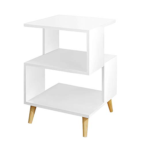 White Nightstand for Bedroom, Lanstics Small End Side Night Stands Table S-Shaped Modern Cabinet Bedroom Bedside for Study Living Room Small Spaces