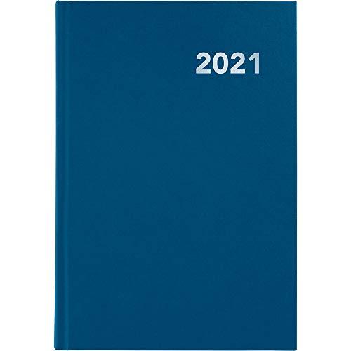 Grafoplás 70302130. Agenda 2021, Día Página, Azul, Cubiertas Guaflex Gofrado, Tapa Dura y Punto de Lectura, Serie Bretaña, 14,5x21cm
