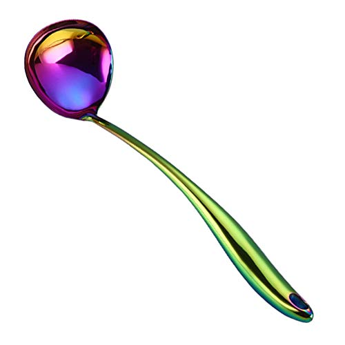 Long Soup Ladle 304 Stainless Steel Rainbow Soup Ladle Spoon Colorful Kitchen Serving Ladle with Titanium Plating 14 Inches