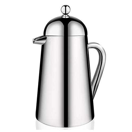 SongMyao Kaffeepressen 304 Edelstahl-Kaffee Press Pot Double-Layer-Isolierung Französisch Filterpresse for Home Office Filterpressekanne (Color : Silver, Size : 1000ml)