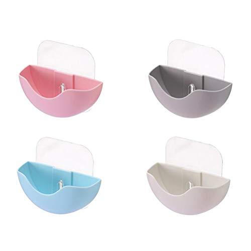 DOITOOL - Jabonera de ducha para jabón de bar, 4 unidades, multiusos con ventosa esponja para secar, organizador de utensilios de cocina (azul, rosa, beige y gris)