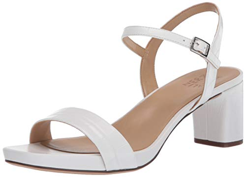 Naturalizer Women's Ivy Ankle Strap Heels Heeled Sandal, White Crocco, 10 Wide