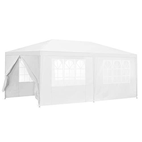 [casa.pro] Carpa Pabellón para Jardín 600 x 300 x 255cm Quiosco Gazebo Cenador de jardín Estructura de Metal Plegable Blanco