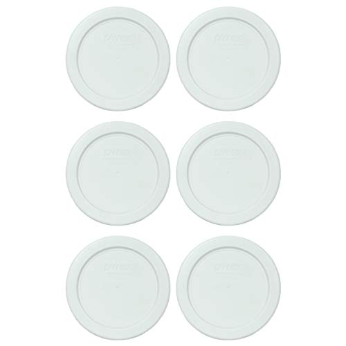 Pyrex 7202-PC White Round Plastic Food Storage Replacement Lids - 6 Pack