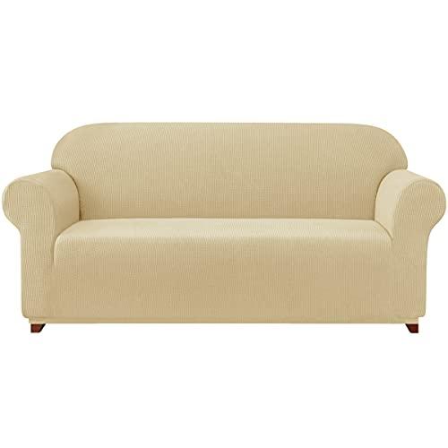 subrtex 1 Stück Stretch Sofabezug Spandex Jacquard Stoff Schonbezüge für Couch, Sessel, maschinenwaschbar (Loveseat, Khaki)