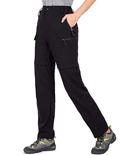 Cycorld Wanderhose Damen Trekkinghose, Atmungsaktiv Zip Off Damen Outdoorhose Abnehmbar Outdoor Hiking Pants mit 5 Tiefe Taschen, für Wandern, Klettern, Reisen und Freizeit (Schwarz, L)