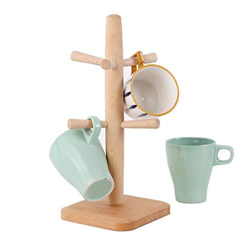 FREELX Cocina Madera Soportes Para Tazas Estante Colección de Tazas de Desayuno Desmontado Organizador Estante Para Tazas Cafe Ocupa Poco Espacio Estanteria